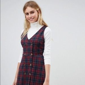 Plaid Pinny Dress with Double Breasted Buttons